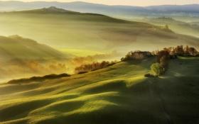 Обои свет, поля, утро, Италия, дымка, Тоскана