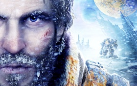 Обои взгляд, снег, скалы, кровь, планеты, станция, борода