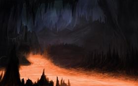 Обои темно, арт, лава, пещера, мрачно