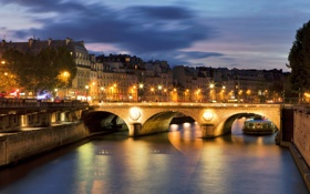 Обои река, мост., вечкр, город, France, дома, Париж