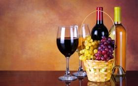 Обои вино, корзина, бокалы, виноград, бутылки