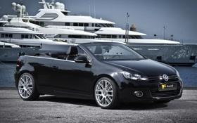 Картинка фон, чёрный, тюнинг, яхта, Volkswagen, кабриолет, tuning