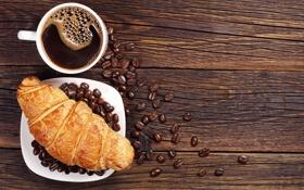 Обои breakfast, кофе, croissant, зерна, завтрак, выпечка, круассан