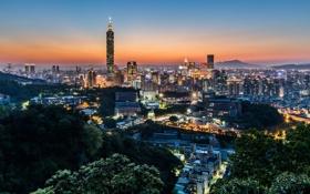 Обои весна, вечер, Тайвань, Тайбэй, Taipei 101