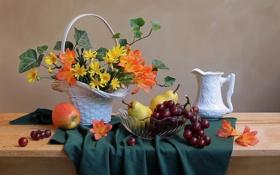 Картинка виноград, корзина, груши, фрукты, кувшин, натюрморт, яблоко