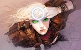 Картинка девушка, лицо, эльф, рука, круг, арт, вид сверху