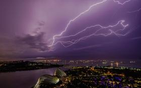 Обои гроза, ночь, город, молния, Сингапур