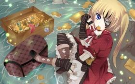 Обои вода, золото, череп, девочка, повязка, монеты, сундук