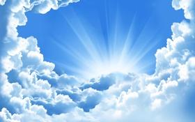 Обои голубое, облака, небо, лучи солнца