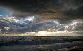 Картинка море, закат, тучи, прибой
