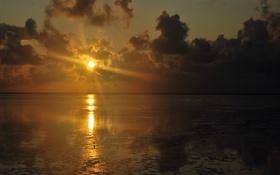 Обои закат, лёд, солнце, отражение, свет, лучи, море
