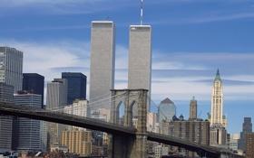 Обои мост, обои, небоскребы, wallpaper, нью-йорк, Манхэттен, Manhattan