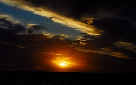 Картинка небо, солнце, пейзаж, закат, тучи, горизонт