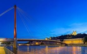 Обои ночь, мост, огни, река, Франция, набережная, Lyon