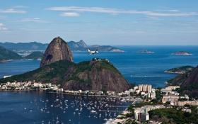 Обои бразилия, сергей доля, самолет, пристань, рио-де-жанейро, скала