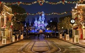 Картинка ночь, город, дом, праздник, Новый Год, Рождество, Disney