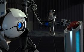 Обои робот, кнопка, Portal 2, нажимает