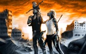 Картинка противогаз, маска, будущее, семья, руины, город, разрука