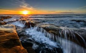 Картинка море, небо, солнце, закат, скалы