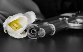 Обои пистолет, цветок, оружие