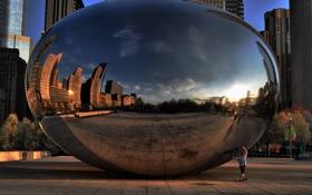 Картинка закат, отражение, вечер, Чикаго, Chicago, монумент, millennium park