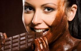Картинка шоколада, грязная, брюнетка, плитка