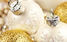 Обои декорации, Рождество, золотые, Christmas, New Year, белые, елочные