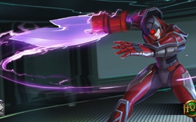Обои девушка, броня, меч, Ussuri, шлем, Heroes of Newerth, энергия