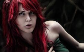 Картинка девушка, лицо, арт, ткань, рыжая