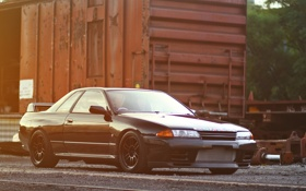 Картинка GT-R, black, R32, ниссан, tuning, Nissan Skyline, скайлайн