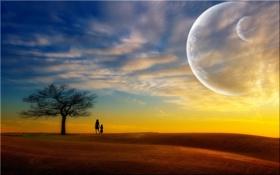 Картинка мать, Поле, облака, небо, планеты, дерево, дочь