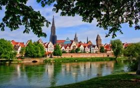 Обои зелень, небо, облака, деревья, город, река, Германия