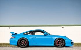 Картинка небо, голубой, тюнинг, забор, 911, Porsche, суперкар