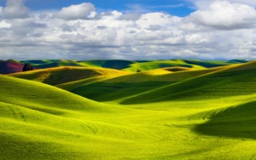 Обои природа, холмы, поля, Пейзаж, солнечный свет