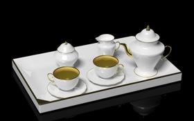 Обои отражение, чай, напиток, кружки, заварник, поднос, блюдца