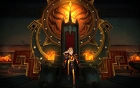 Обои девушка, огонь, арт, трон