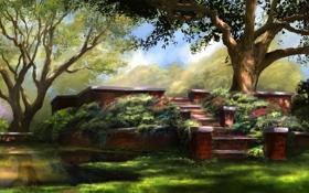 Картинка лето, вода, деревья, природа, озеро, отражение, арт