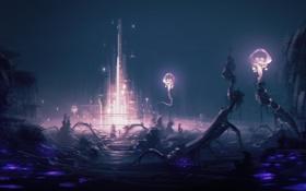 Картинка ночь, замок, арт, существа