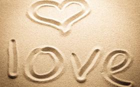 Картинка песок, любовь, надпись, сердце, love, heart, sand