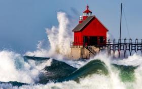 Обои волны, брызги, шторм, дом, маяк, пирс, США