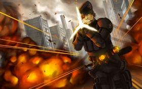 Обои art, взрыв, город, стрельба, бой, солдат, война