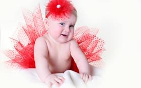 Картинка улыбка, red flower, a smile, Маленькая девочка в красной юбке, красный цветочек, Little girl in ...