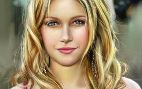 Картинка волосы, лицо, блондинка, арт, девушка, katie cassidy