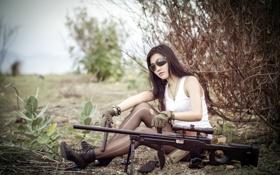 Обои девушка, оружие, ситуация