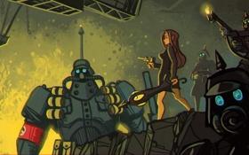 Картинка пистолет, солдаты, шлем, броня, art, огнемет