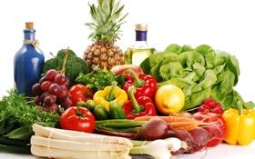 Обои бутылки, овощи, фрукты