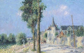 Обои небо, деревья, пейзаж, город, улица, картина, Гюстав Луазо