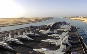 Обои оружие, авианосец, USS Dwight D. Eisenhower, Suez Canal