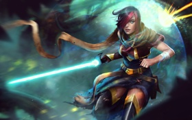 Обои League of Legends, fan art, jedi, fiora, Grand Duelist