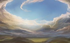 Обои природа, облака, арт, вид, небо